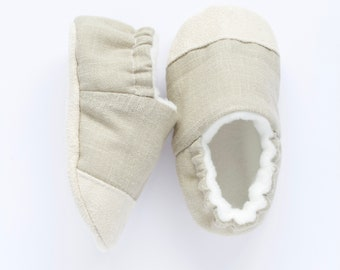 Grey linen toe cap shoes, boys pre walkers and toddlers