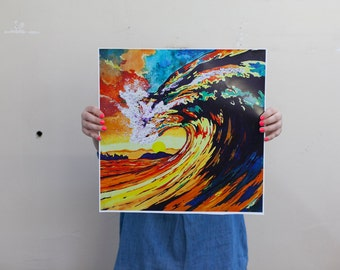 colorful wave print on canvas