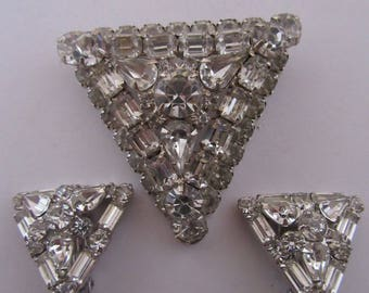 Vintage Rhinestone Triangular Shaped Pin and Earrings