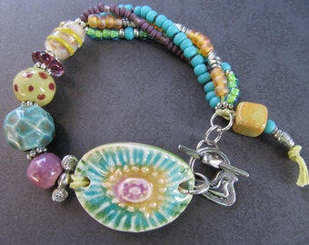 20% Off Sale-Use Coupon Code Bright Flower Ceramic and Glass Bead Multi Strand Artisan Bracelet