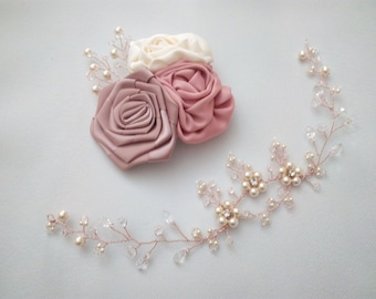 Rose Gold Wedding Hair Piece Rose Gold Pearl Hair Vine Bridal Hair Vine Wedding Hair Vine Pink, Wedding Hair Vine Rose Gold Hair Accessories