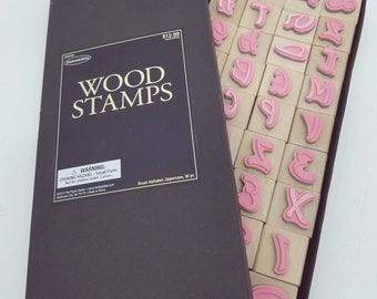 Stampabilities NIB Brush Alphabet Rubber Stamps #256743 Wood Mounts -A1J101