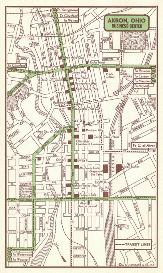 Akron Map Decor Akron Street Map Akron Wall Art Akron