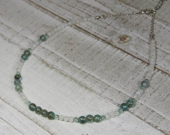Green Apatite and Rainbow Moonstone Beaded Choker