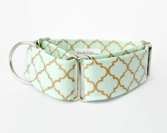 Mint Green  & Gold Quatrefoil Adjustable Dog Collar -  Martingale Collar or Side Release Buckle Collar - Copper Gold Lattice Pattern