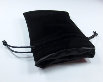 The Black Void Velvet Dice Bag with Satin Lining for Dungeons & Dragons, dnd,  also can be used as a velvet jewelry bag
