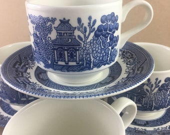 Vintage Churchill Flat Cup & Saucer Set Willow Blue Georgian Shape / Aldesko / Chruchill Blue and White Cup and Saucer Set England