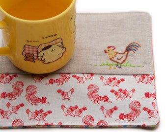Rooster Drink Coaster, Year Of The Rooster, 2017 Chinese Zodiac, Country Kitchen Decor, Chinese New Year, Farm Animal Mug Rug, Kid Snack Mat