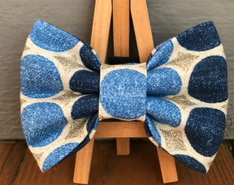 NEW! Denim Dots Dog Bow Tie