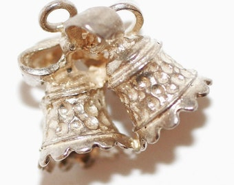 Vintage Wedding Anniversary Bells & Bow Sterling Silver Charm (3.5g)
