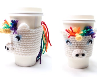 Coffee Cozy Unicorn,  Crochet Animal Drink Sleeve, Java Jacket, Can Holder, Travel Cup Holder