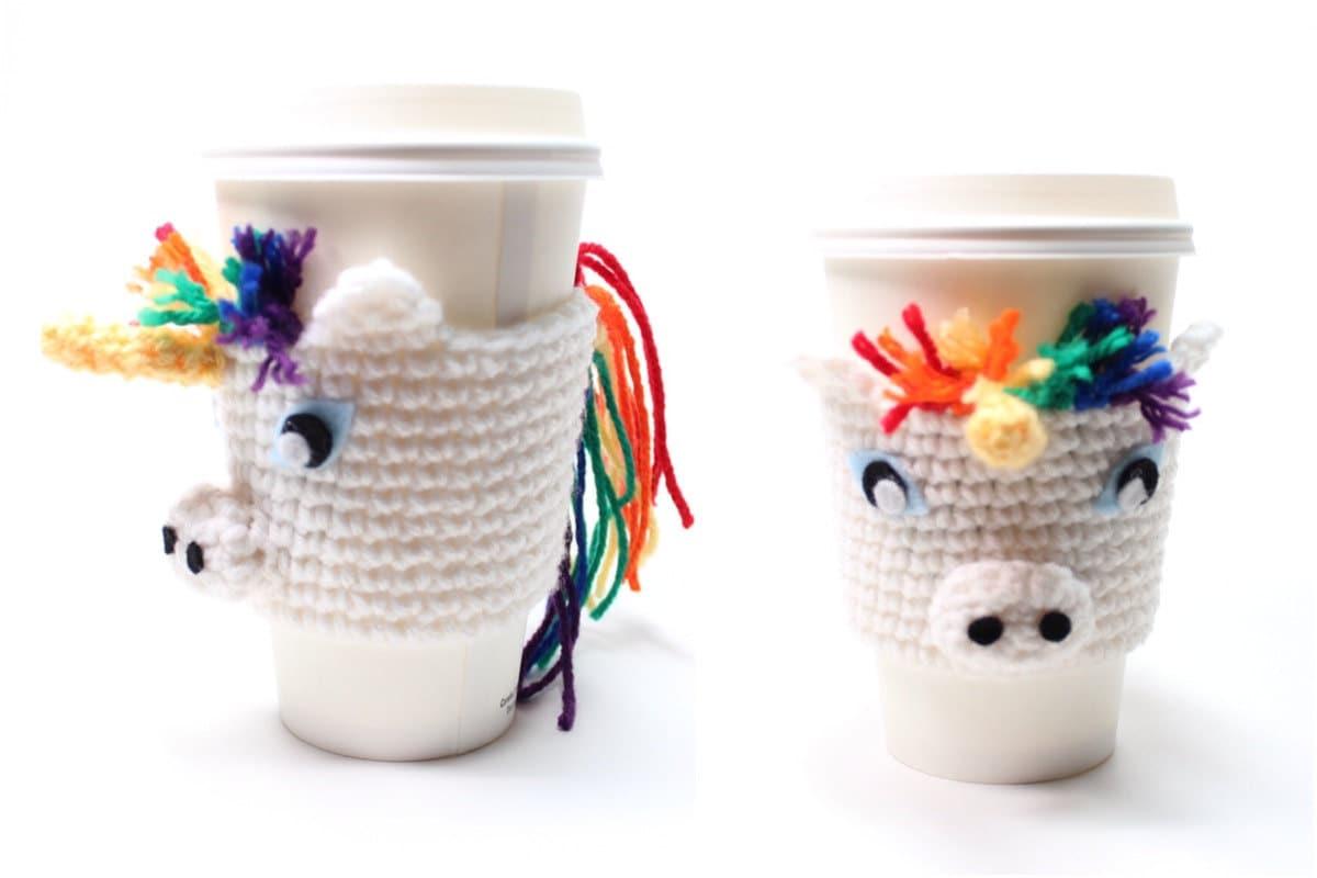 Coffee Cozy Unicorn Crochet Animal Drink Sleeve Java