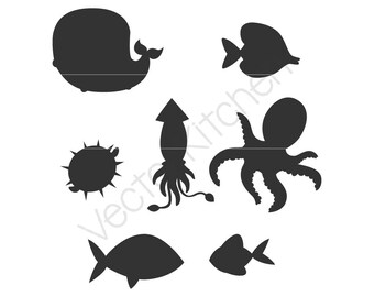 Ocean Animals Silhouettes Cutting Template SVG EPS Silhouette Cricut Sure Cuts A Lot DIY Cricut Vector Instant Download Whale Fish Squid