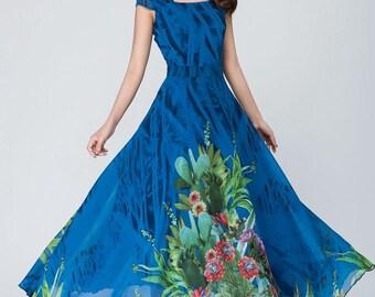 Blue chiffon dress, maxi dress, women's dress, prom dress, flower chiffon dress, cap sleeve dress, bridesmaid dress, custom dress   1547