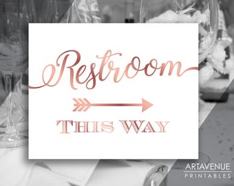 Chic Rose Gold Party Signs | Restroom This Way Sign | Restroom Sign Printables | Rose Gold Arrow Signs | Wedding Sign Downloads SCRG69