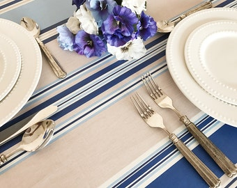 "72 - 120"" Rectangle or Oval Laminated Tablecloth Biarritz in Blue - Extra Wide up to 115"" wild available -Umbrella Hole available"
