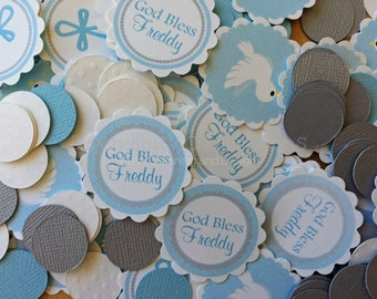 Baptism Confetti, Blue and Grey Baptism Confetti, Baptism, Christening, Mini Circles, Photo Prop, Religious Confetti, Cross, Dove, God Bless