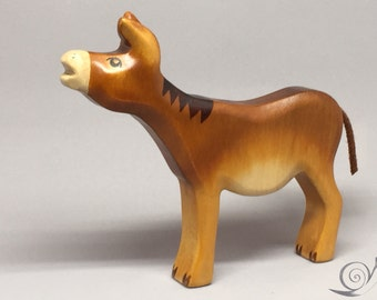 Toy Donkey wooden brown with head up without saddle bags Size: 15,0x 14,0 x 2,2 cm (bxhxs) approx. 89,5 gr.