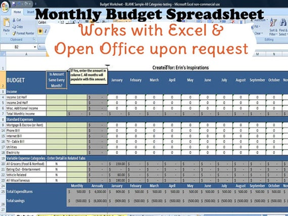 online monthly budget spreadsheet