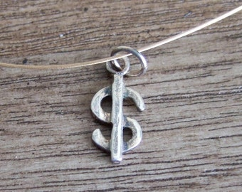 Dollar Sign Charm - Sterling Silver - 13mm x 10mm