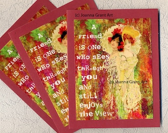 ENJOY THE VIEW Mixed Media Collage Art Greeting Cards Set
