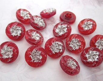 15 pcs. vintage glass red with silver plate pinwheel flower shank buttons 19mm - b237