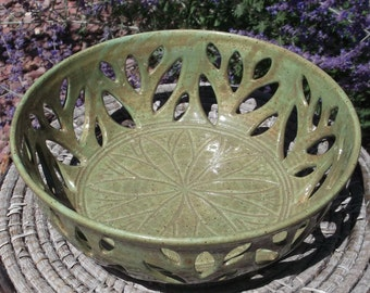 Fresh Fruit Bowl with Leaves - Wheel thrown Pottery