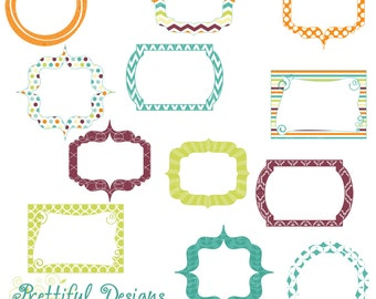 Digital Frame Clip Art Green Teal Purple Orange Commercial Use