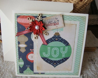 Christmas card vintage style Joy embellished greeting card hostess gift paper art card