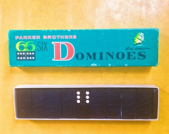 1960s dominoes - vintage parker brothers double 6 complete set in original box
