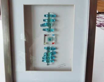 modern  3D abstract  studio  fused glass art wall hanging listed artist  signed