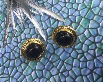 Small Round Earrings, Black Earrings, Black Stud Earrings, Minimalist Earrings, Black Jewelry, Under 10 Gifts, Vintage Studs, Mom Gift