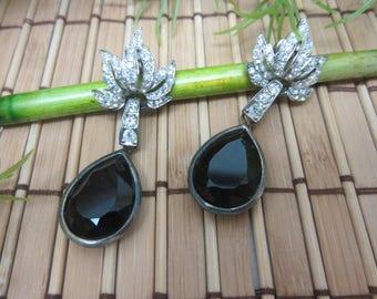Black Teardrop Rhinestone Earrings by CAROLEE Pear Shaped Stones Elegant Silver Tone Metal Classy Fancy Dangling Vintage FREE SHIPPING (378)