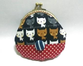 Kawaii neko, cat handmade clasp purse, kisslock snap metal frame purse id1710172 portefeuille, portmonnaie, change pouch