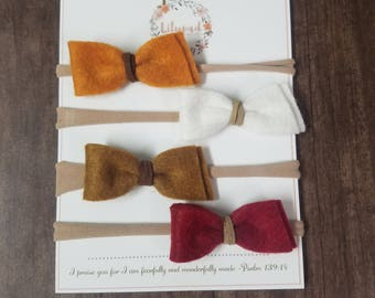 Felt Bow Headband- Slanted Ends with Suede Center