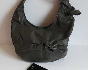 Vintage Gray Leather Crossbody Bag, Leather Shoulder Bag, Large Hobo Bag