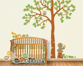 "Baby Nursery Tree Wall Decal Tree Decals Tree Wall Decal with Teddy Owl Wall mural sticker - Large: approx 93"" x 85"" - KC031"