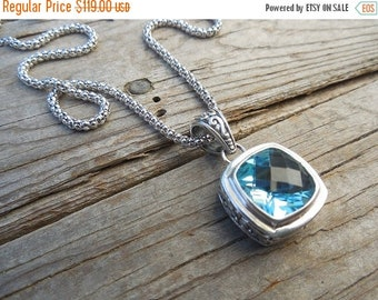 ON SALE Blue topaz necklace handmade in sterling silver