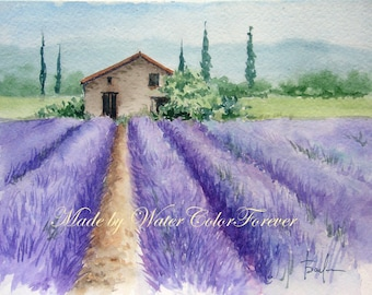 Provence original watercolor, lavender field, original painting, Provence landscape, lavender, watercolor painting, gift, scenery