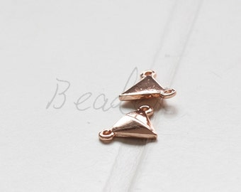 2 Pieces / Rose Gold Plated / Real Rose Gold / Base Metal / Triangle / Link (C125//J681)