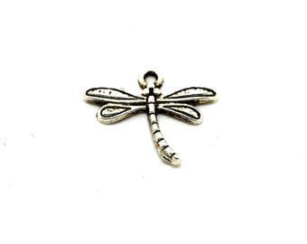 Set of 5 silver metal Dragonfly charms