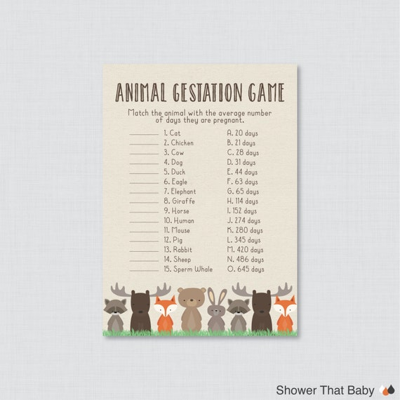 Baby Shower Game Name The Baby Animal: Woodland Baby Shower Animal Gestation Game Printable Animal