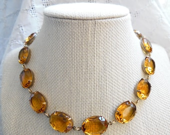 Citrine statement necklace, Anna Wintour, collet, citrine statement jewelry, Jane Austen necklace, Downton Abbey jewelry, Topaz.