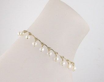 White Freshwater Pearl Gold Chain Anklet, Pearl Ankle Bracelet