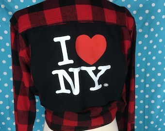 Handsewn repurposed I Love New York NY flannel LS shirt with tshirt back logo