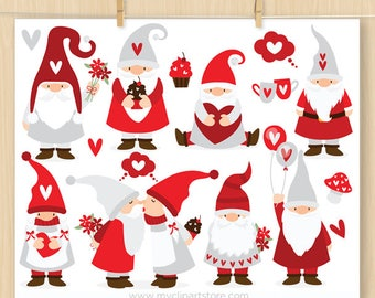 Valentine Gnomes Clipart, Scandinavian Gnome, Tomte, Dwarf, Gardening, Valentine's Day, Commercial Use, Vector clip art, SVG Files