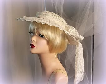 40s Garden Wedding Hat - White Lace Covered Open Weave Brim Hat - Lovely Lace Band and Bow - Spring / Summer Bridal Hat - Charming