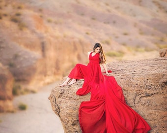Red Infinity  Chiffon Full Circle Engagement Gown with long train, photo prop, fully lined gown, photo session dress
