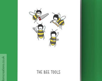 The Beatles Card - The Bee Tools - Funny music pun, blank greeting card