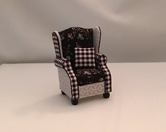 Dollhouse Furniture: Handmade, Wing Back chair.